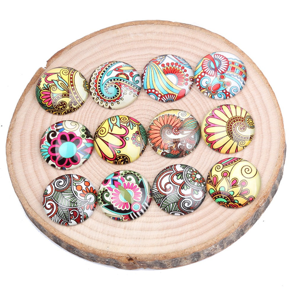 Paisley Ornament Round Glass Cabochon 12mm 25mm 30mm Jewelry Findings Accessories