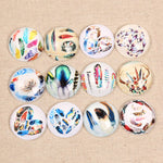 Vintage Feather Round Dome Glass Cabochons 25mm 12mm Jewelry Findings Accessories