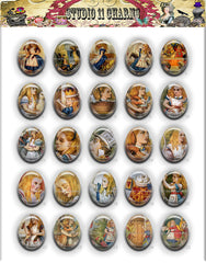 40x30, 18x25, 13X18 Resin Cameo LOW DOME Cabochon. Alice in Wonderland Classic 1
