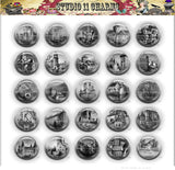 25pcs 25mm 1 inch Bottle Cap Resin Cameo Cabochon. Castles 1c