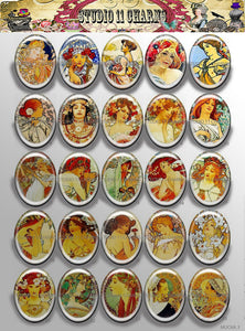 40x30, 18x25, 13X18 Resin Cameo LOW DOME Cabochon. Art Deco Alfred Mucha 3