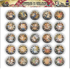 25mm 1 inch Bottle Cap Resin Cameo Cabochon. Alice In Wonderland 1b clock