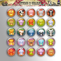25mm 1 inch Bottle Cap Resin Cameo Cabochon. Animal 12 Kawaii