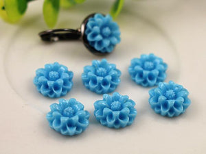 12mm Flat Back Resin Cabochons Vibrant Colors Flower Shaped Cameo Fit Base Setting