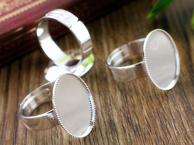 13x18mm 6 Color Plated Brass Oval Adjustable Ring Fit Blank Base Settings