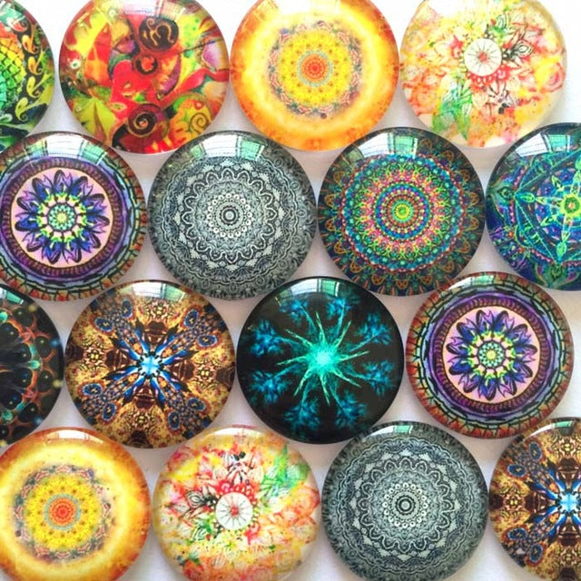 20mm 25mm Colorful Glass Cabochon Mixed Patterns Round Fit Cameo Base Setting Supplies