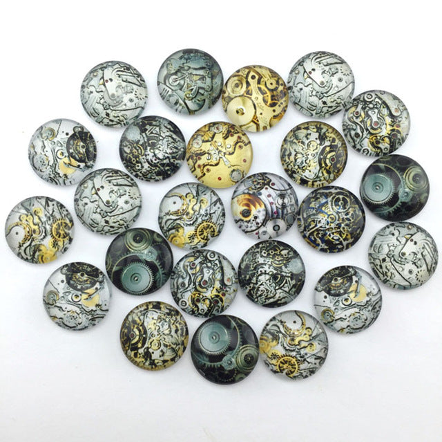 10mm 12mm Abstract Mixed Pattern Glass Cabochon Cameo Round Cabochon Base Supplies for Jewelry Accessories