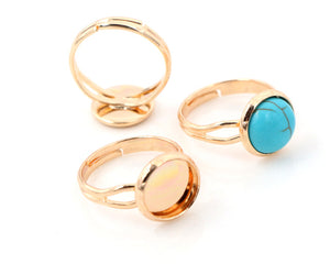 10mm Classic 8 Colors Plated Brass Adjustable Ring Bezel Blank Base Fit Settings