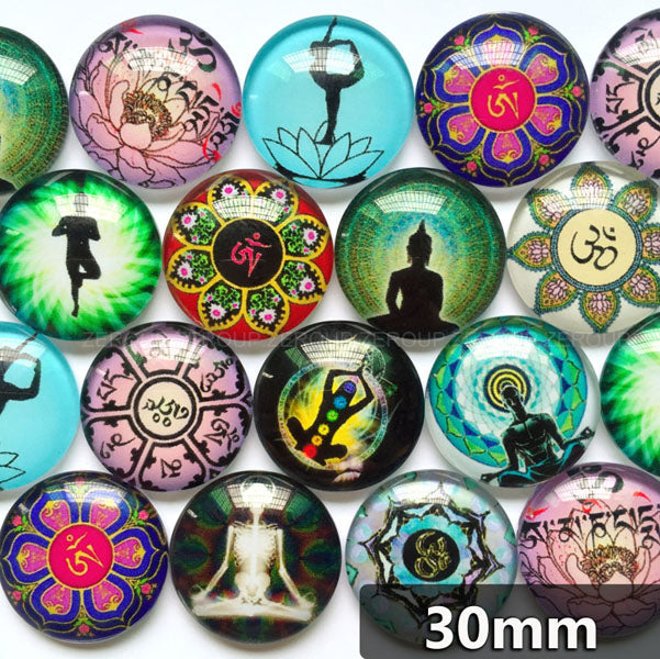 30mm 35mm Photo Glass Cabochons Mixed Pattern Domed Round Jewelry Accessories Supplies