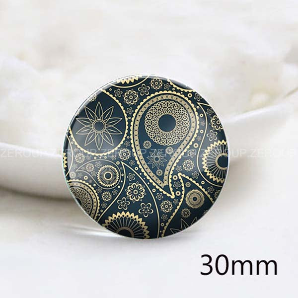 12mm 20mm 25mm 30mm DIY Black Pattern Round Glass Cabochon Jewelry Finding Fit Cameo Blank Settings