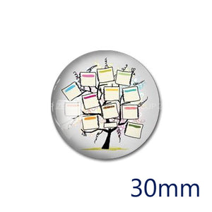 12mm 20mm 25mm 30mm DIY Round Photo Glass Cabochon Dome Jewelry Finding Settings Pattern Flat Back