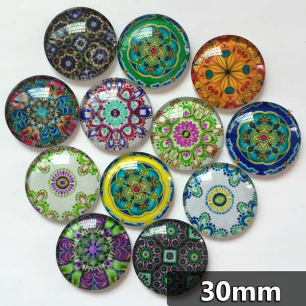 30mm 35mm Mixed Pattern Round Glass Cabochon Handmade DIY Embellishments Supplies
