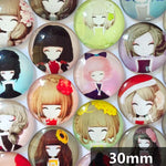 30mm 35mm Round Glass Cabochon Animated Girl Sketches Mixed Characters Fit Cameo Base Setting
