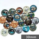 30mm 35mm Round Glass Cabochons Eye Design Mixed Style Jewelry Accessories Supplies