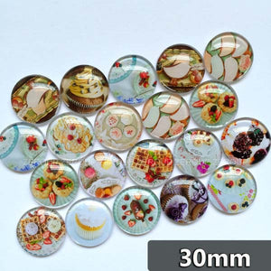 30mm 35mm Round Glass Cabochons Mixed Pastry Design Domed Jewelry Accessories Supplies