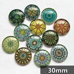 30mm 35mm Round Glass Mosaic Style Mandala Pattern Cabochon DIY  Embellishments Supplies For Jewelry Clasps