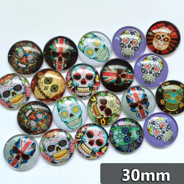 30mm 35mm Round Glass Cabochons Mixed Style Skull Pattern Domed Round Jewelry Accessories Supplies