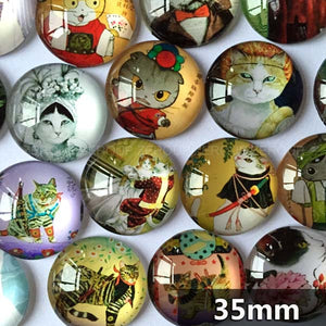 30mm 35mm Round Glass Cabochon The Duke Of Cat Mixed Pattern Fit Cameo Base Setting