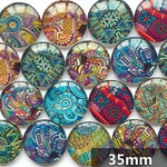 30mm 35mm Abstract Round Glass Cabochon Mixed Pattern Fit Cameo Base Setting