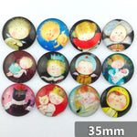 30mm 35mm Round Glass Cabochon Pictures Mixed Pattern Fit Cameo Base Setting