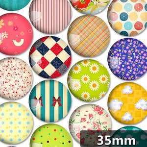 30mm 35mm Round Glass Cabochon All Kinds Of Flowers Pictures Mixed Pattern Fit Cameo Base Setting