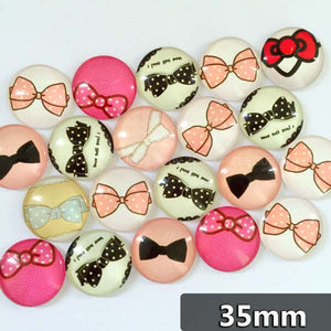 30mm 35mm Round Glass Cabochon Bow-Knot Pictures Mixed Style Pattern Fit Cameo Base Setting