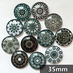30mm 35mm Floral Pattern Round Glass Cabochon Mixed Pattern Handmade DIY Embellishments Supplies
