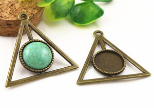 16mm Inner Size Antique Bronze And Silver Triangle Style Fit Base Cameo Charms Pendant Setting