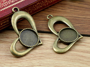 14mm Inner Size Antique Bronze And Silver Heart Style Fit Base Charms Pendant Setting