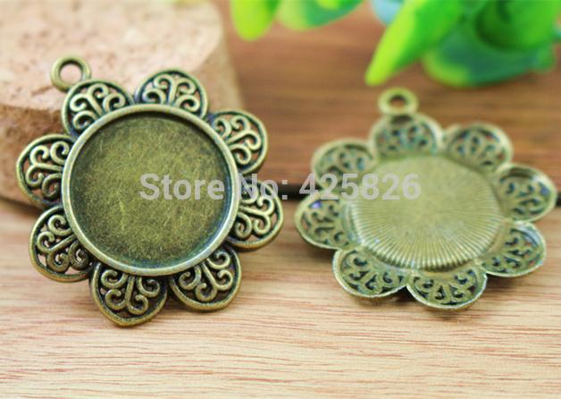 25mm Inner Size Antique Silver And Bronze Petals Style Base Setting Charms Pendant