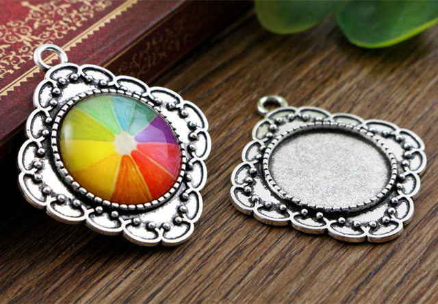 20mm Inner Size Antique Silver And Bronze Colors Plated Classic Style Base Setting Charms Pendant