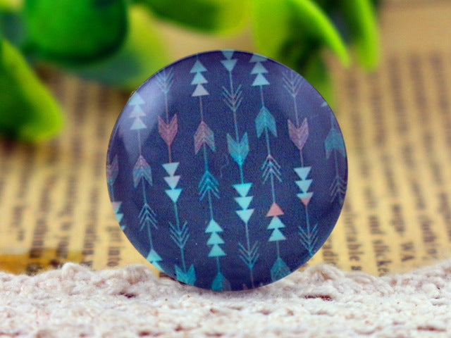 25mm Round Glass Cabochon Assorted Blues Designs Cameo Fit Base Settings
