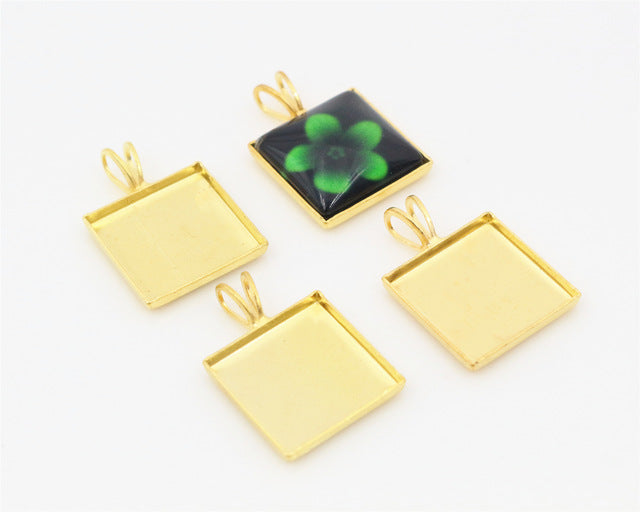 12mm Square Inner Size 4 Colors Plated Brass Material Simple Square Style Cabochon Base Cameo Setting Charms Pendant Tray