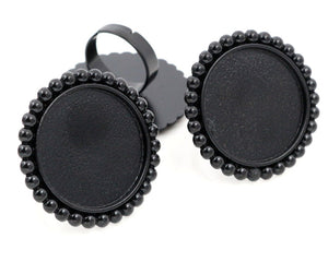 25mm Black Plated 3 Style Brass Adjustable Ring Fit Blank Base Settings Buttons Ring Bezels