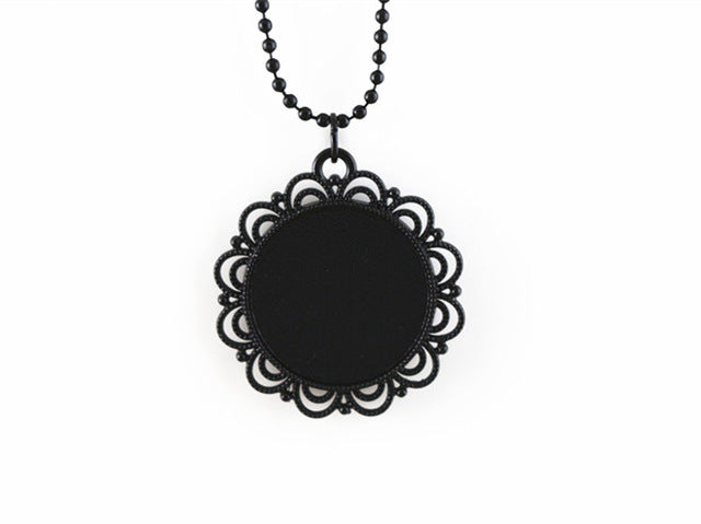 25mm Inner Size Black Necklace Fashion Handmade Necklace Ball Chain Long Necklace
