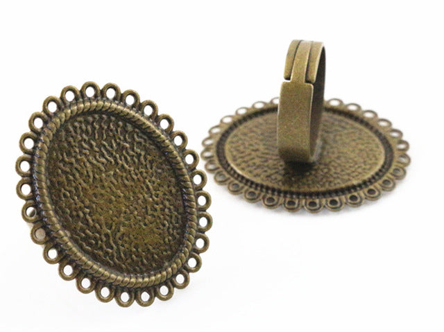 18x25mm Antique Bronze Plated 9 Style Brass Oval Adjustable Ring Fit Blank Base Settings
