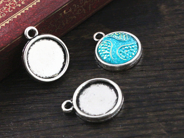 12mm Inner Size Antique Silver and Rhodium Colors Double Side Simple Style Pendant Charm Setting