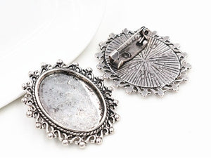 18x25mm Inner Size Antique Silver And Bronze Brooch Pin Classic Style Base Setting