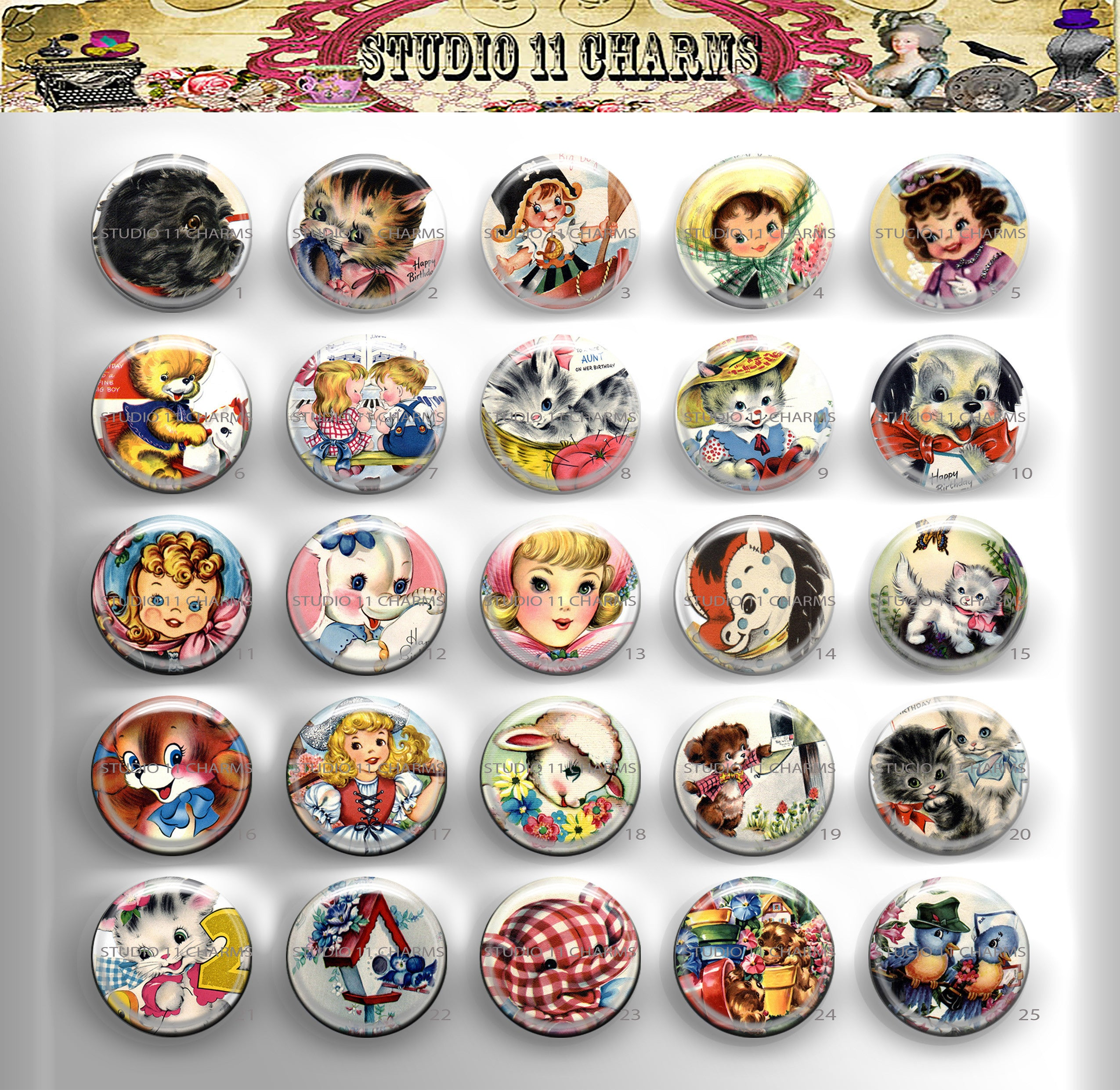 25mm 1 inch Bottle Cap Resin Cameo Cabochon. Animal 9 Children