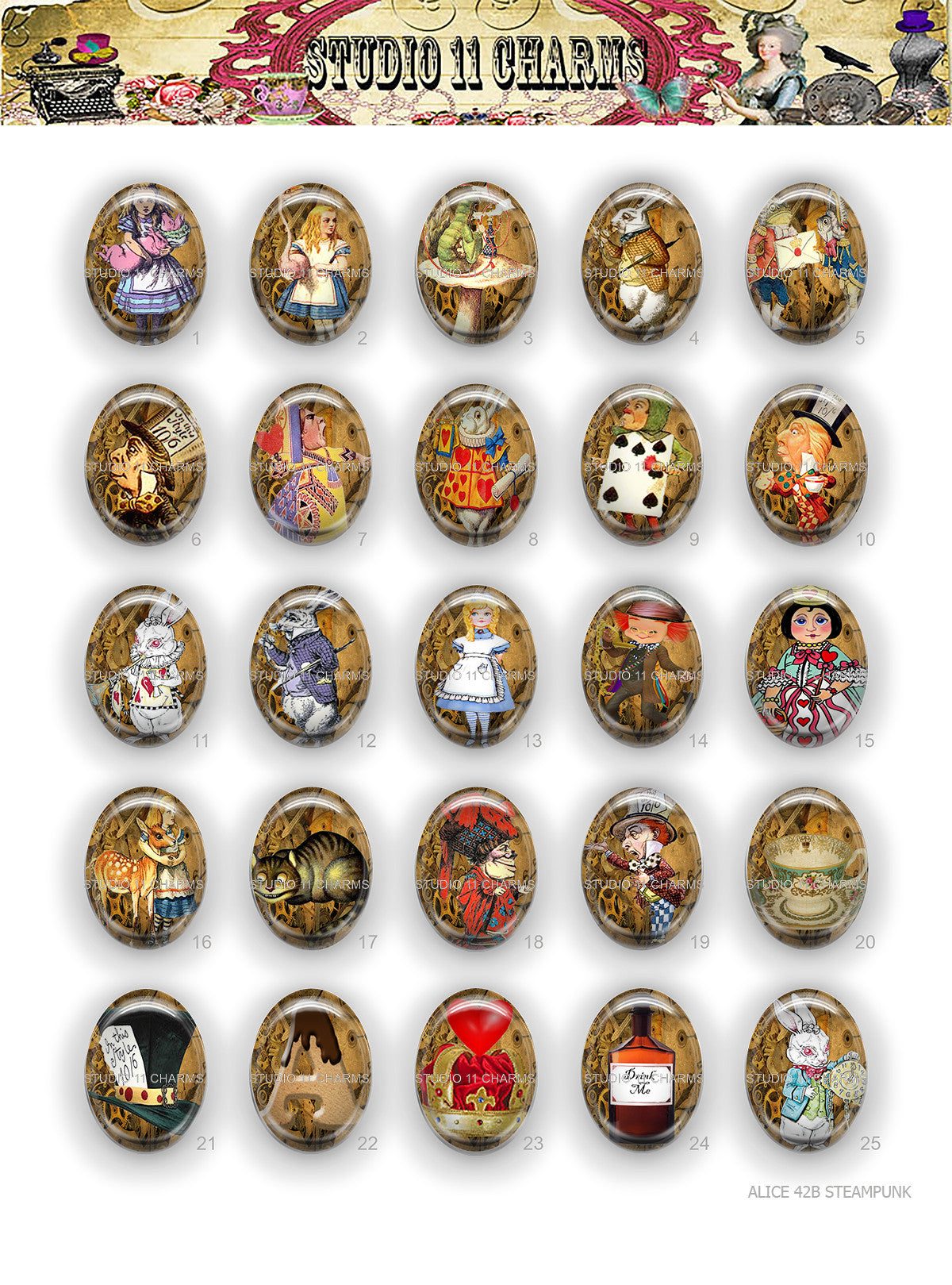 40x30, 18x25, 13X18 Resin Cameo LOW DOME Cabochon. Alice in Wonderland 42b Steampunk