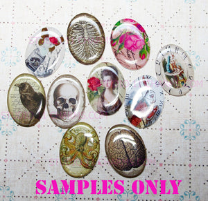 40x30, 18x25, 13X18 Resin Cameo LOW DOME Cabochon. Alice in Wonderland 1r Reverse Clock