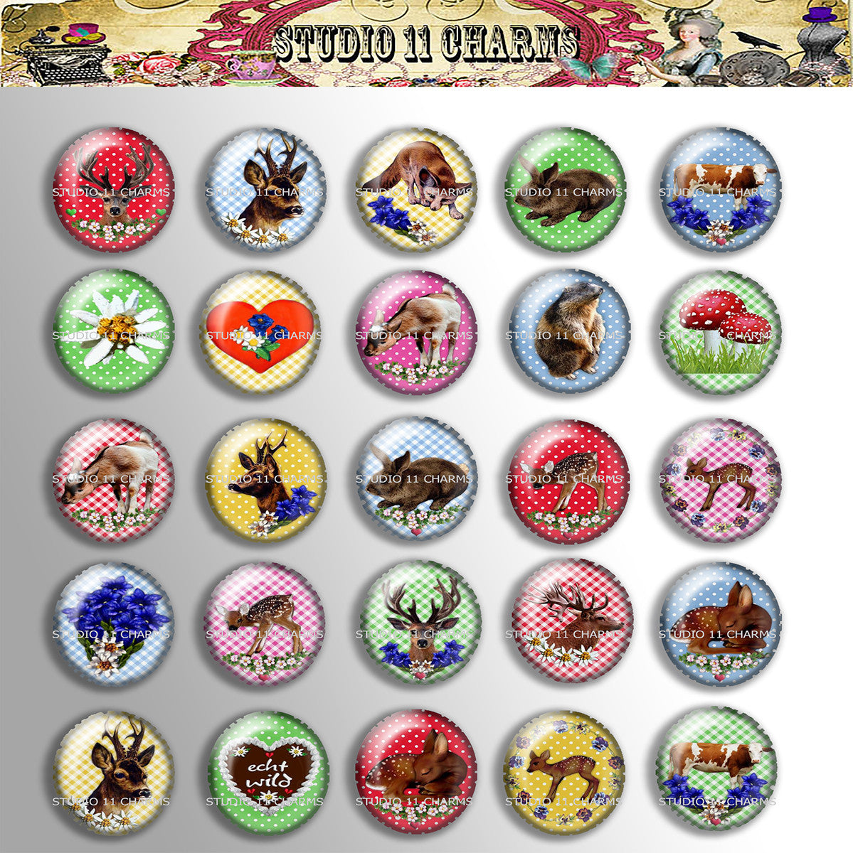 25mm 1 inch Bottle Cap Resin Cameo Cabochon. Animal 9 Deer
