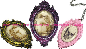 Resin Cameo LOW DOME Oval Alice in Wonderland, ABSINTHE 1