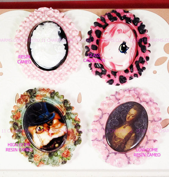 40x30, 18x25, 13X18 Resin Cameo LOW DOME Cabochon. Alice in Wonderland 27