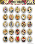 40x30, 18x25, 13X18 Resin Cameo LOW DOME Cabochon. Alice in Wonderland 42d