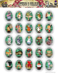 40x30, 18x25, 13X18 Resin Cameo LOW DOME Cabochon. Alice in Wonderland 42e green strips