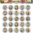 25mm 1 inch Bottle Cap Resin Cameo Cabochon. Alice in Wonderland 21