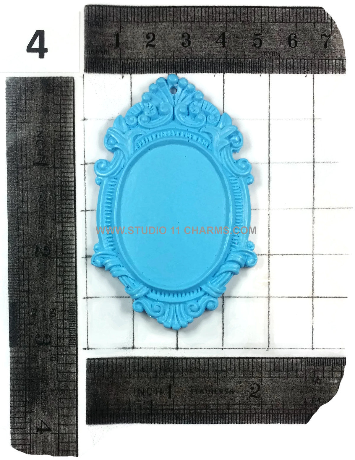 12 Resin Frame Setting Bezel Victorian Vintage Style fit 40x30 cameo 4.1 Blue