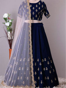 Designer Navy Blue Embroidered Engagement Lehenga Choli