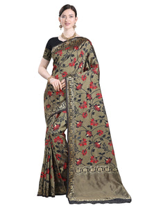 Designer Black Floral Kanchipuram Silk Saree